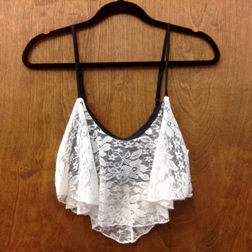 Lace Overlay Crop Tank - White