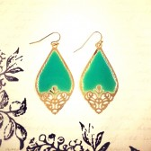 Cutout Earrings - Teal