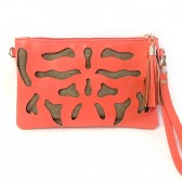 Ink Blot Cutout Clutch - Coral