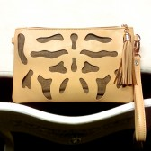 Ink Blot Cutout Clutch - Tan