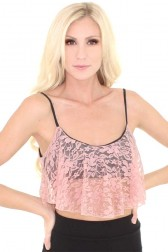 Lace Overlay Crop Tank - Dusty Rose