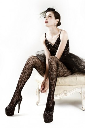 Yelete Mosaic Tile Fishnet Pantyhose in Black (168YD024)