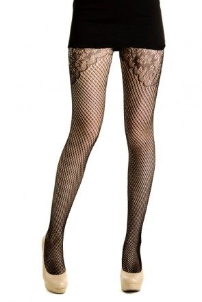 Yelete Floral Lace Top Fishnet Pantyhose in Black (828DY708)