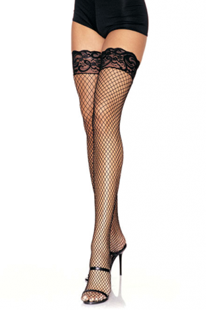 Leg Avenue Stay Up Grip Lace Fishnet Thigh Highs (9201)