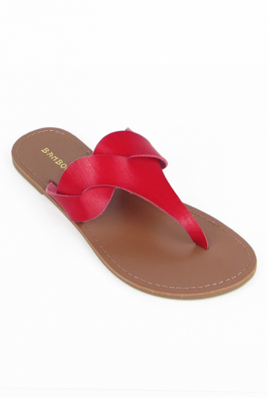 Bamboo Bebbo-01 Twist Sandals in Red