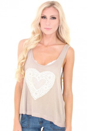 Cherish Crochet Heart Tank - Tan