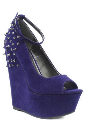 Shoe Republic Deare Spiked Wedge in Navy