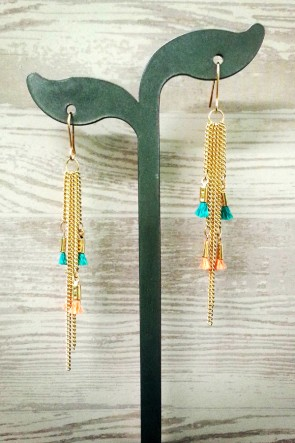 Don't Tassel Me Earrings - Teal & Coral