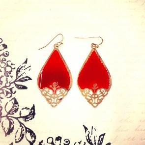 Cutout Earrings - Red