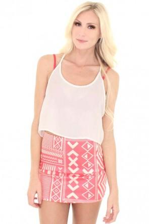 Glyph Mini Skirt - Coral