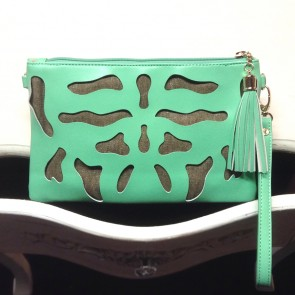 Ink Blot Cutout Clutch - Mint