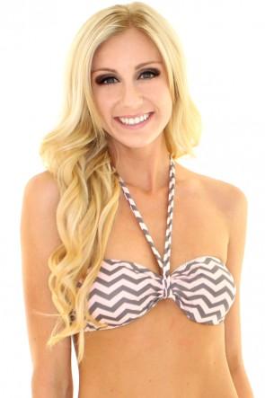 Reversible Chevron Bandeau Bikini Top - Pink