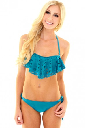 Side Tie Scrunch Bikini Bottoms - Teal